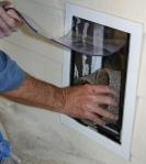 Insert carpet into wall model pet door tunnel